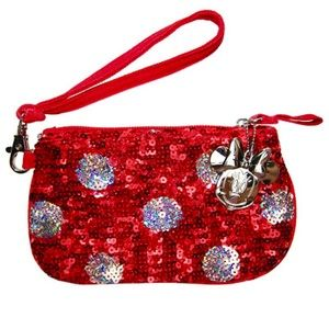 Disney Red & Silver Sequined Minnie Mouse Wristlet